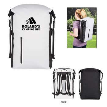 Waterproof Backpack has a Roll Top Closure, Adjustable Side Straps and is Resistant To Punctures, Mildew and UV Rays