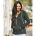 Ladies' Triblend Hooded Half-Zip  Pullover Sweatshirt