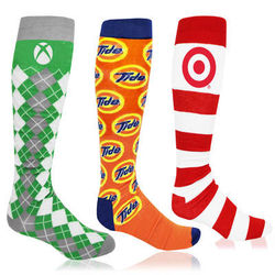 PMS-Matched Knee High Socks with Knit-In Logo (Longer Ship, Higher Mins)