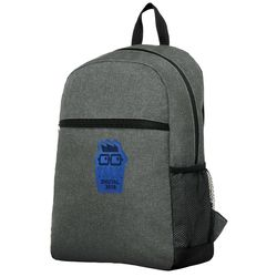 "Flush-Front Snow Canvas Backpack with Faux-Leather Logo Patch - Holds 15"" Laptops"