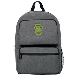 "Dual Pocket Snow Canvas Backpack with Faux-Leather Logo Patch - Holds 15"" Laptops"
