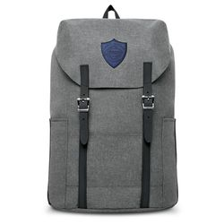 """Flip-Top Snow Canvas Backpack with Faux-Leather Logo Patch - Holds 15"""" Laptops"""