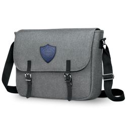 "11"" x 15"" Snow Canvas Messenger Bag with Faux-Leather Logo Patch - Holds 15.5"" Laptops"