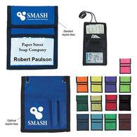 Badge Holder with Card Pockets, Zippered Compartment and 2 Pen Loops