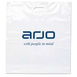 "Eco Plastic Bag with Die Cut Handle - 12"" x 15"" - 40% Recycled Material"