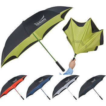 """Inversion Umbrella Opens and Closes Inside-Out - Colored Inside 46"""" Manual-Open (29.5"""" Folded)"""