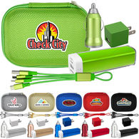 On-The-Go Metallic Power Bank Kit - 2200 mAh, Wall & Car Chargers & Cable - GOOD