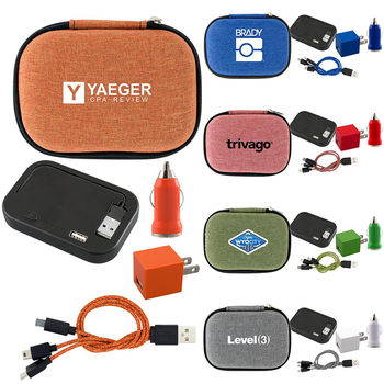 On-The-Go Snow Canvas Power Bank Kit - 4000 mAh, Wall & Car Chargers & Cable - BETTER