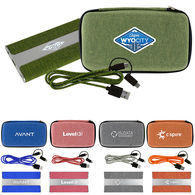 Tech Kit Includes LIGHT-UP LOGO Snow Canvas Power Bank and 3' Long Braided Cable in Snow Canvas Zippered Pouch