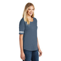 Ladies' Tee with Athletic Striping on Sleeves