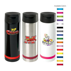 16 oz Hot/Cold Stainless Steel Vacuum Tumbler with Leak-Proof Lid with Optional Raised Full Color Printing