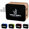 Light-Up-Logo Metallic Wall Charger - 2 USB Ports