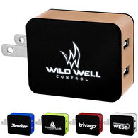 LIGHT-UP LOGO Metallic Wall Charger - 2 USB Ports
