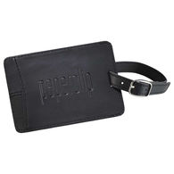 Faux Leather Luggage Tag with Buckle Clasp Holds a Business Card