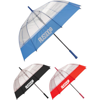 "52"" Arc Auto-Open Clear Bubble Umbrella (33.5"" Folded)"