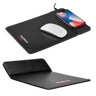 Wireless Charging Leatherette Mousepad with Phone Stand