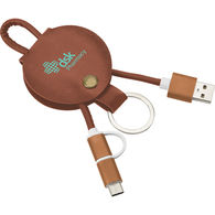 Faux Leather 3-in-1 Charging Cable Includes Micro USB and Apple® 8-Pin Tips