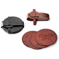 *NEW* Faux Leather Coaster Set with Vinyl Flap Closure