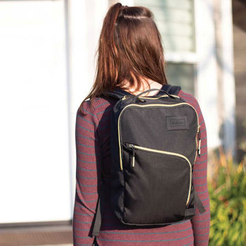 Ladies' Mini Backpack with Stylish Gold Zipper and Gold Contrast Quilting
