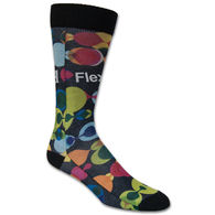 Flat Knit Dress Sock with Full Color Sublimation - Made in USA, Low Minimum