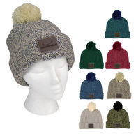 *NEW* Trendy Knit Cuffed Beanie with Leatherette Patch and Pom