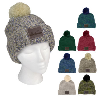 Trendy Knit Cuffed Beanie with Leatherette Patch and Pom