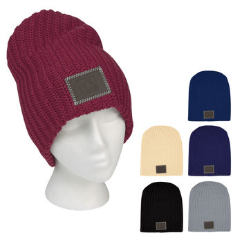Trendy Knit Slouch Beanie with Leatherette Patch