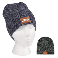 Cable Knit Beanie with Leatherette Patch