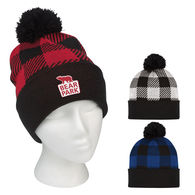 Checkered Cuffed Beanie with Pom