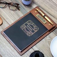 *NEW* Solid Wood Clipboard Set with Brass Pen and Notepad is Rustic, Stylish and Manly