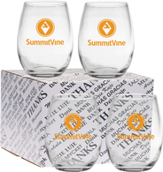 *NEW* 4 Stemless Wine Glasses Set in