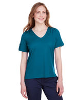 Ladies' Fashion Performance V-Neck T-Shirt with Ruching and Sleeve Epaulets