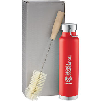 *NEW* 22 oz Stainless Steel Vacuum Insulated Hot/Cold Bottle with Handle Loop, Brush and Gift Box