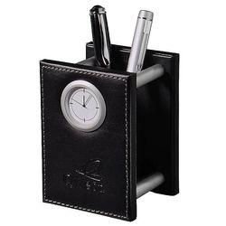Metropolitan Leather Pencil Cup Clock