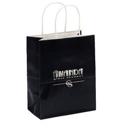 "Glossy Paper Shopping Bag - 7.75"" x 9.75"" - Foil Imprint"
