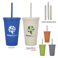 *NEW* Renewable And Sustainable Wheat Straw Plastic  16 oz Travel Tumbler