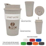 *NEW* Renewable And Sustainable Wheat Straw Plastic 16 oz Travel Tumbler with Silicone Grip