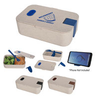*NEW* Renewable And Sustainable Wheat Straw Plastic Lunch Box with Fork and Phone Holder