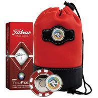 *NEW* Mid-Tier Golf Kit Includes Titleist Balls & Metal Poker Chip Ball Marker in Faux Leather Pouch