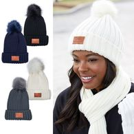 *NEW* Rib Knit Beanie with Fur Pom Pom and Decorated Patch