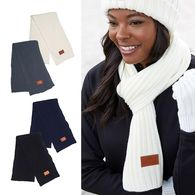 *NEW* Rib Knit Scarf with Decorated Patch