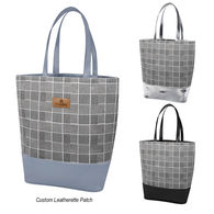 *NEW* Houndstooth Tote Bag with Leatherette Trim and Decorated Patch