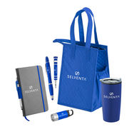 *NEW* 6-Gift Set Promo Bundle with Flashlight, Journal, Stylus Highlighter, Pen and Tumbler in Cooler Tote