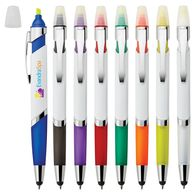 *NEW* Ballpoint Stylus Pen and Highlighter with Flattened Barrel and Large Imprint Area with Full Color Printing
