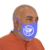 12-PACK of 2-Ply Polyester Face Mask with Fabric Ties - Full Color All-Over Printing