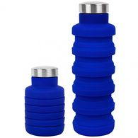 17 oz Collapsible Silicone Water Bottle with Laser Engraved Metal Lid