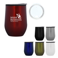 *NEW* 12 oz Stainless Steel Stemless Wine Glass with Plastic Liner, Drink-Through Lid