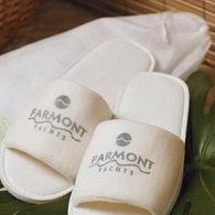 *NEW* Open-Toe Velour Slippers in Travel Bag