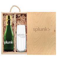*NEW* Custom-Label Mini Sparkling Wine and Flute Gift Set in Engraved Wooden Box