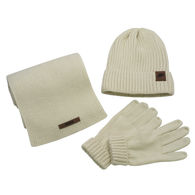*NEW* Deluxe Cable Knit Winter Set with Leather Patch, Includes Hat, Gloves, and Scarf